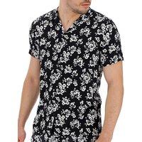 Black Floral Print Viscose Shirt.