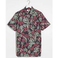 Dark Floral Short Sleeve Shirt Long.
