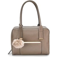 Lola Taupe Bowler Bag with Pom Pom