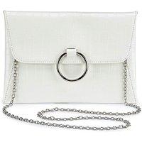 Sophie White Croc Ring Detail Clutch Bag