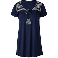 Navy Tie Front Embroidered Top