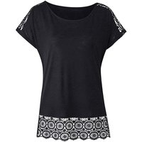 Black Crochet Trim T-shirt