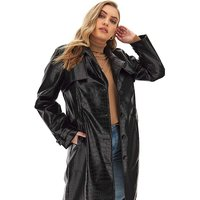 Shiny Croc Effect Trench Coat