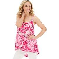 Pink Tie Dye Longline Crinkle Cami