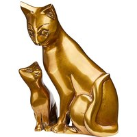 Antique Brass Cat with Kitten Ornament