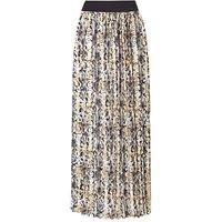 Snake Print Pleat Maxi Skirt