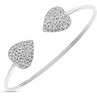 Silver Crystal Heart Bangle.