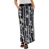 Floral Slouch Linen Rich Maxi Skirt