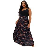 Black Floral Jersey Maxi Skirt