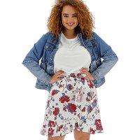Floral Linen Rich Mock Wrap Skirt