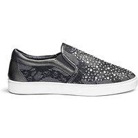 Diamante Detail Slip On Shoes E Fit
