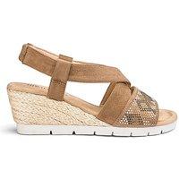 Diamante Detail Wedge Sandals E Fit