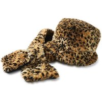 Faux Fur Animal Print Hat and Scarf Set