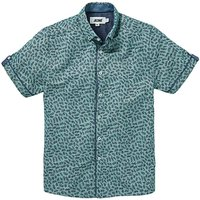 Green Ditsy Printed S/S Shirt L