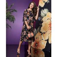 Black Floral Pleated Cape Midi Dress