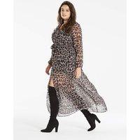 Animal Ruffle V Neck Maxi Dress
