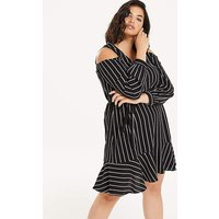 Black/White Cold Shoulder Dress