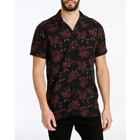 Jacamo Dark Floral Revere Shirt Long