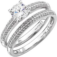 9 Carat White Gold Cz Bridal Set