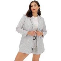 Soft Grey Stripe Relaxed Blazer