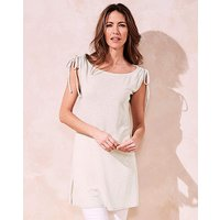 Silver Metallic Ruched Shoulder Tunic
