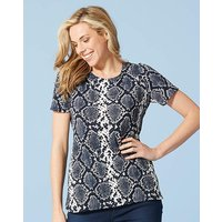 NAVY PRINT TEXTURED SHELL TOP