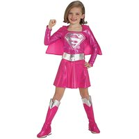 Girls Pink Supergirl Costume + Free Gift