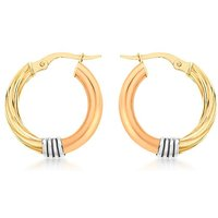 9Ct 3 Colour Gold Twist Earrings
