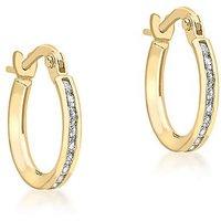 9Ct Gold Band Hoop Earrings.