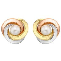 9Ct 3 Colour Gold & Pearl Earrings.