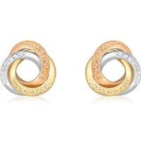 9Ct 3 Colour Gold Diamond Cut Earrings.