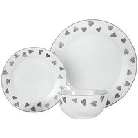 Hearts 12 Piece Porcelain Dinner Set
