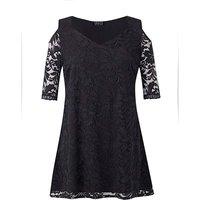 Grace cold shoulder lace tunic top