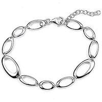 Sterling Silver Open Oval Link Bracelet.