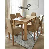 Ava Large Dining Table & 6 Fabric Chairs.