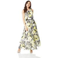 Roman Floral Halter Neck Pleated Maxi...