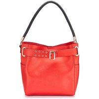 Red Plaited Handle Bucket Bag