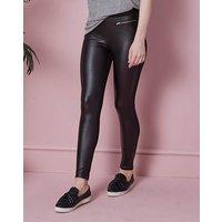 Zip Trim PU Wet Look Leggings Reg