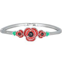 Rhodium plated enamel Poppy bangle.
