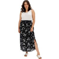 Black and Ivory Crinkle Pom Pom Maxi Skirt