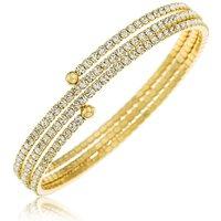 Crystal Glitz Gold Plated 3 Row Bangle