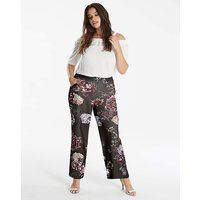 Printed Wide Leg Crepe Trousers
