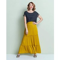 Crochet Trim Tiered Maxi Skirt