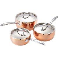 Copper Tri-Ply 3-Piece Saucepan Set