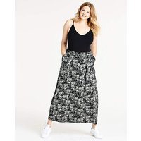 Floral Easy Care Linen Mix Maxi Skirt