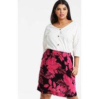 Print Linen Rich Frill Hem Skirt