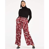 Floral Washed Satin Wide Leg Trousers