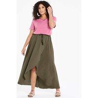 Linen Rich Wrap Front Maxi Skirt