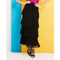Tiered Pleated Maxi Skirt