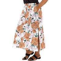 Floral Print Linen Rich Maxi Skirt